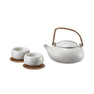 Light Grey Outdr Tea Set,Teapot+2 Cups-Cobblestone