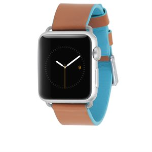 Case-Mate 38mm Apple Watchband, Edged Leather, Brown / Blue