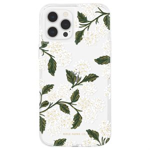 Case-Mate Rifle Paper Case for iPhone 12 / 12 Pro with Micropel, Hydrangea White