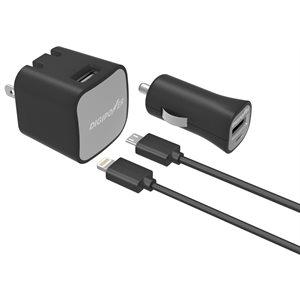 DigiPower 2.4 Amp Lightning / Micro Wall Car Kit