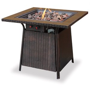 Propane Gas Firebowl with Tile Mantle