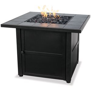 LP Gas Outdoor Firebowl w / Slate Mantel