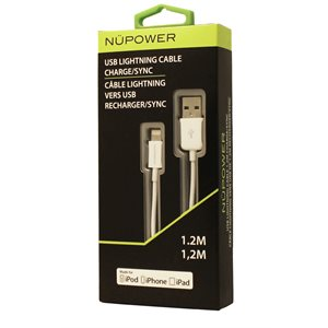 NÜPOWER 1.2 Metre Charge / Sync Cable with Lightning / USB Tip, White
